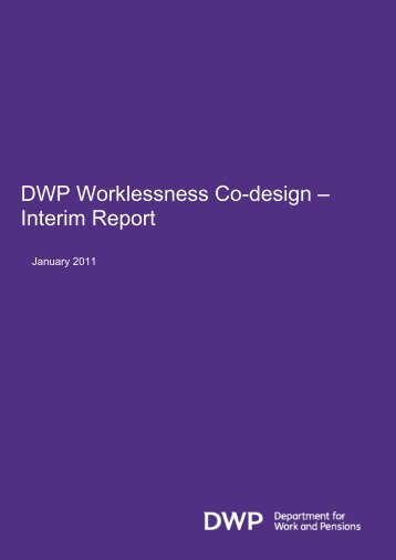 DWP Worklessness Co-design - Department for Work and Pensions