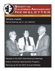 Data Sharing Meetings, continued - Society for California Archaeology