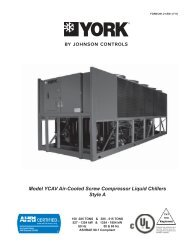 Model YCAV Air-Cooled Screw Compressor Liquid Chillers Style A