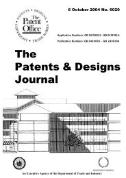The Patents & Designs Journal No 6020 - Intellectual Property Office