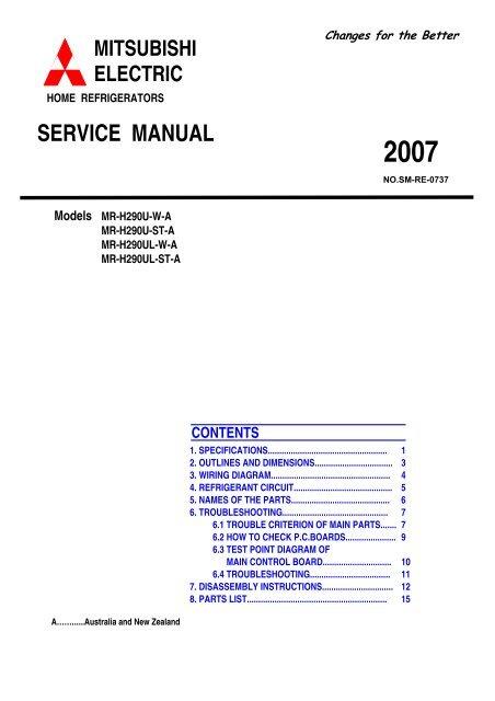 [DIAGRAM_3ER]  SM MR-H290U-A - B.d.t. | Wiring Diagram Refrigerator Mitsubishi |  | Yumpu