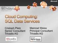 Cloud Computing: SQL Data Services - Trivadis