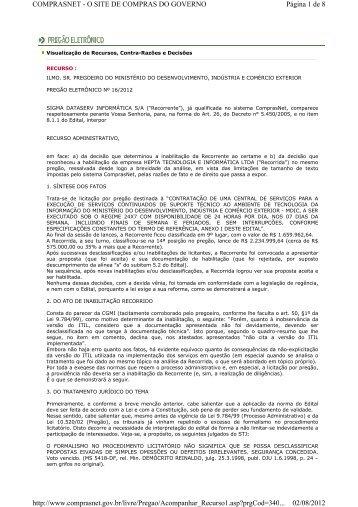 recurso empresa sigma dataserv informática s/a - Ministério do ...