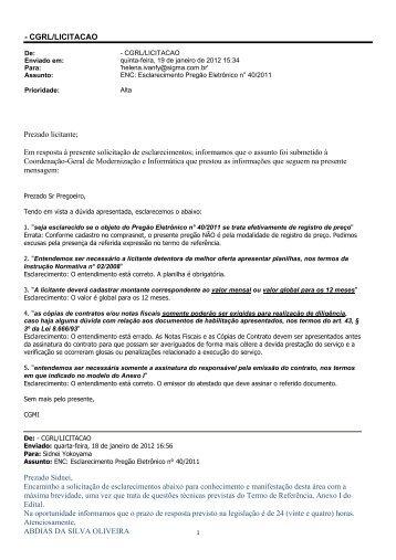 questionamento empresa sigma dataserv informática - Ministério do ...