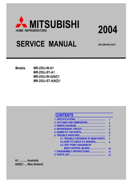 service manual ref-mr-255j-a,nz - bdt