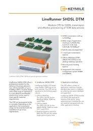 Data Sheet LineRunner SHDSL DTM - KEYMILE