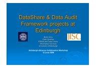 DataShare & Data Audit Framework projects at Edinburgh
