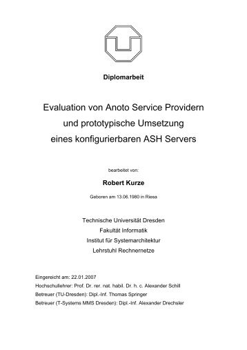 Evaluation von Anoto Service Providern und prototypische Umsetzung