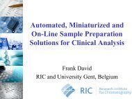 Automated, miniaturized and on-line sample preparation solutions