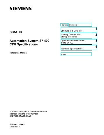 SIMATIC Automation System S7-400 CPU Specifications