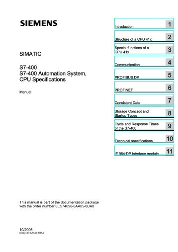 SIMATIC S7-400 S7-400 Automation System, CPU Specifications