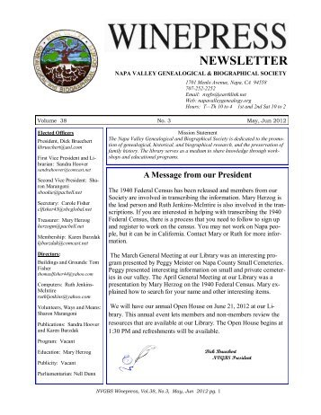 NEWSLETTER - Napa Valley Genealogical and Biographical Society