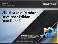 Visual Studio Database Developer Edition Data Dude!