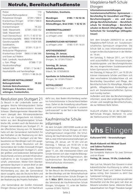 NZ Bürgeles-Hexa Kirchen eV Sportfreunde Kirchen ... - Stadt Ehingen
