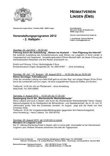Veranstaltungsprogramm 2. Halbjahr 2012 - Heimatverein Lingen