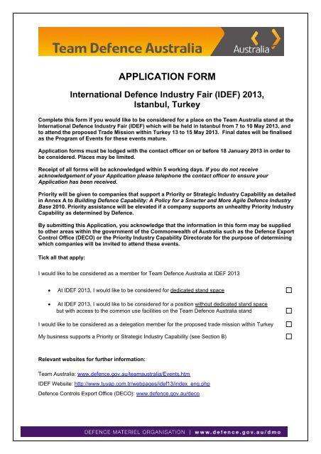APPLICATION FORM International Defence Industry Fair IDEF