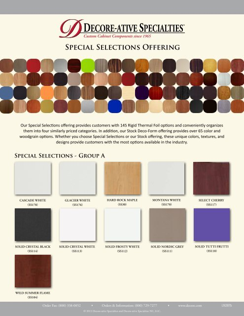 Special Selections Offering Decore Ative Specialties