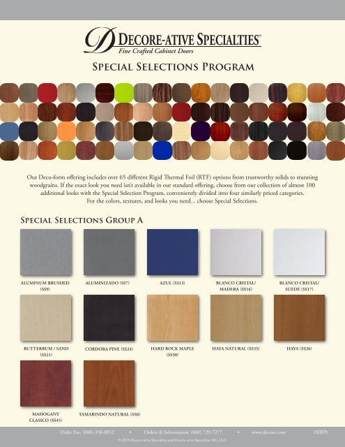 Special Selections Program Decore Ative Specialties