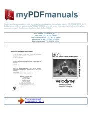 User manual VELODYNE DECO - MY PDF MANUALS