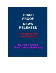 Trash Proof News Releases - Direct Contact PR