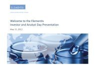 Welcome to the Elementis Investor and Analyst Day Presentation