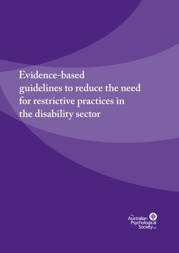 Evidence-based guidelines to reduce the need for - Australian ...