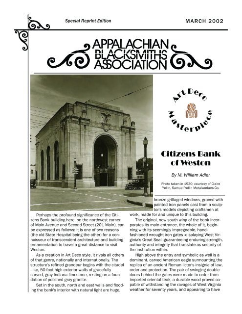Samuel Yellin and the Citizens Bank of Weston - Appaltree.net