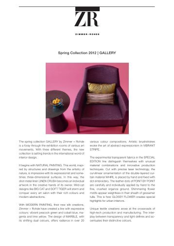 Spring Collection 2012 | GALLERY - Zimmer + Rohde
