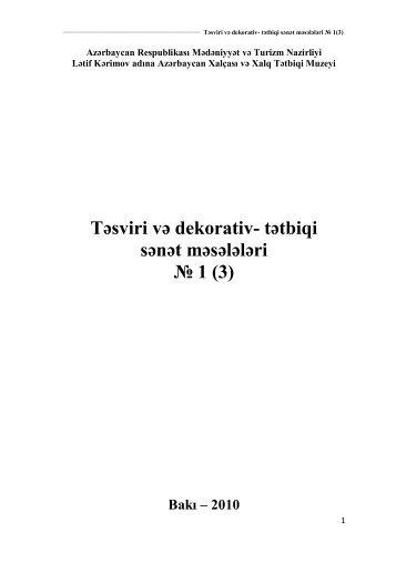 Təsviri və dekorativ- tətbiqi sənət məsələləri № 1 (3) - Lətif Kərimov ...