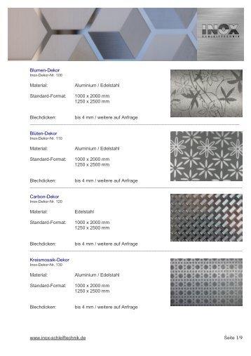 Inox-Schleiftechnik Dekor-Katalog