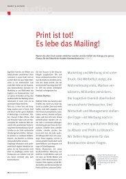 Print ist tot! Es lebe das Mailing! marketing - Druckmarkt