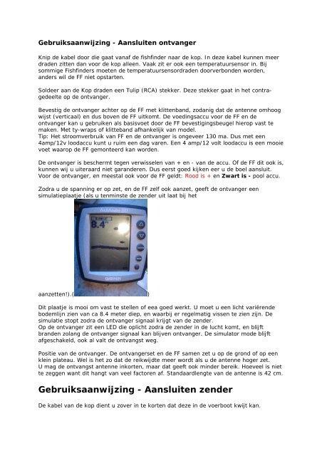 Gebruiksaanwijzing - Aansluiten zender - Draadloze FishFinder