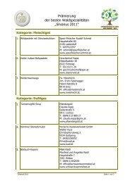 """Prämierung der besten Waldspezialitäten """"Silvanus 2011"""""""