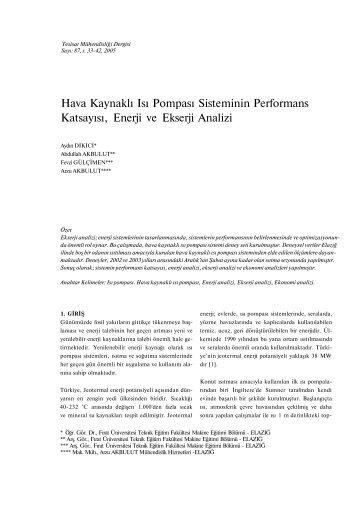 Hava Kaynaklı Isı Pompası Sisteminin Performans Katsayısı, Enerji ...