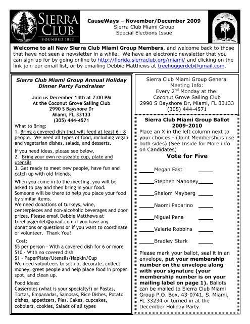 Election Issue 2009 - Sierra Club Florida