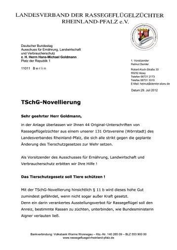 TSchG-Novellierung - Landesverband der Rassegeflügelzüchter in ...