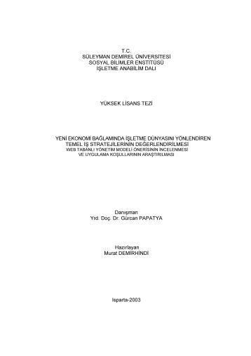 i T.C. SÜLEYMAN DEMİREL ÜNİVERSİTESİ SOSYAL BİLİMLER ...