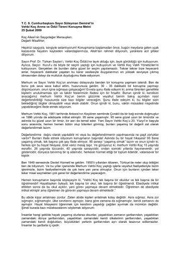 T.C. 9. Cumhurbaşkanı Sayın Süleyman Demirel'in ... - Koc Holding