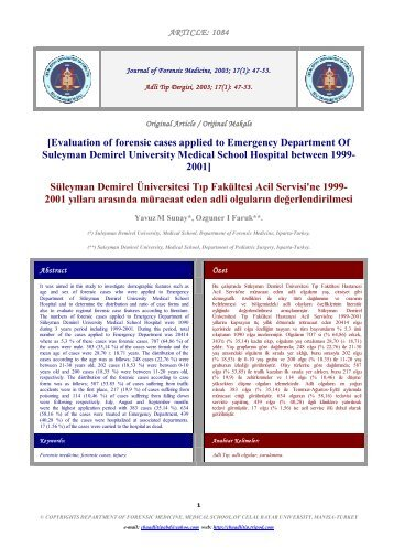 [Evaluation of forensic cases applied to Emergency ... - Tripod
