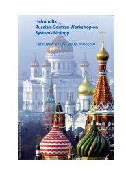 Helmholtz Russian-German Workshop on Systems Biology Moscow ...