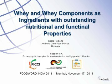 Whey And Whey Components As Ingredients With Outstanding