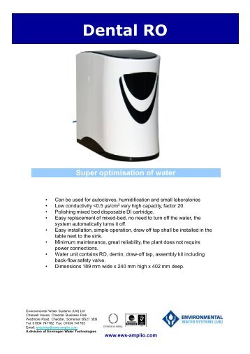 Dental RO Technical Specification - EWS Amplio
