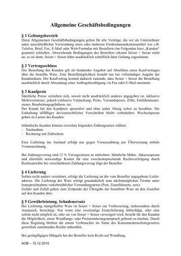 Allgemeine Geschäftsbedingungen - Seiser+Seiser