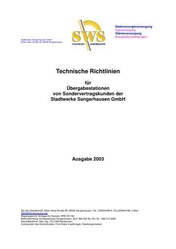 Technische Richtlinien für Übergabestationen von ...