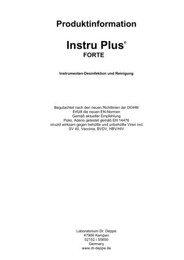 Produktinformation Instru Plus® FORTE - Laboratorium Dr. Deppe
