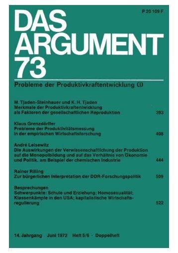 Das Argument 73 - Berliner Institut für kritische Theorie eV