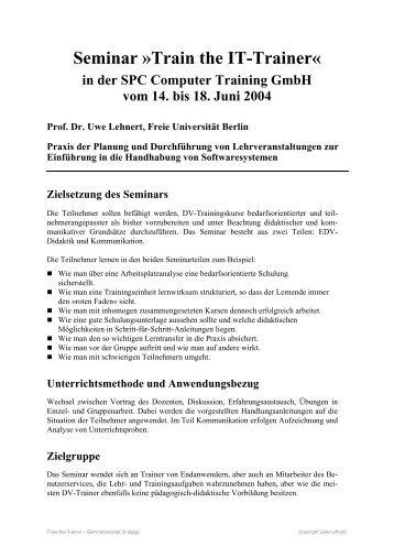 Seminar »Train the IT-Trainer« - Uwe Lehnert
