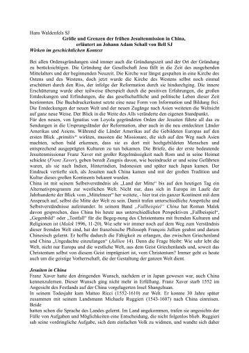 Hans Waldenfels SJ Größe und Grenzen der frühen Jesuitenmission ...