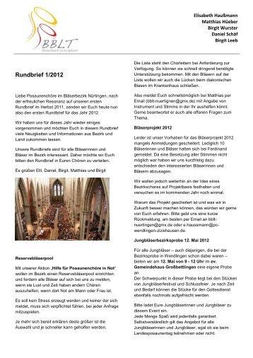 Rundbrief 1/2012 - Evangelischer Kirchenbezirk Nürtingen