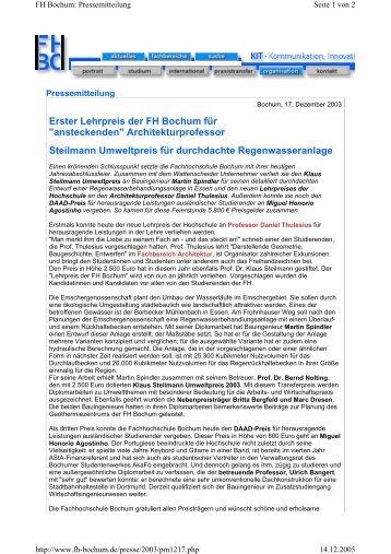 erster lehrpreis der fh bochum fr ansteckenden hochschule - Fh Bochum Bewerbung